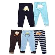 Monvecle Baby Boy 5 Pack Newborn to Toddler Cotton Long Cartoon Pants Gift Set 9M