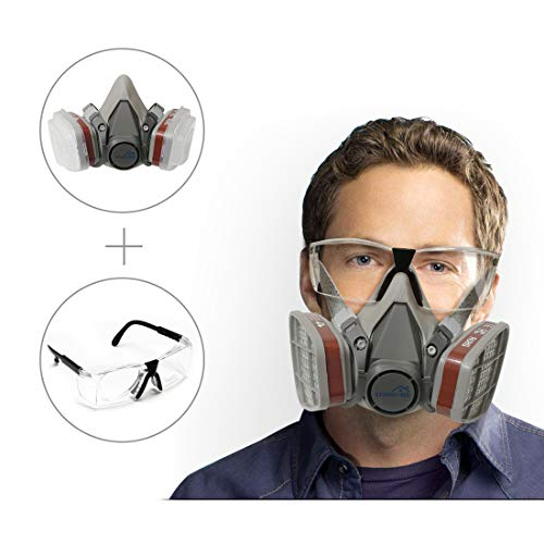 Yinshome Respirator Mask(Plus Safety Glasses)-Gas Mask with Dual Filter Cartridges for Breathing Eye Protection Against Dust,Organic Vapors, Chemicals-Paint Respirator for DIY - Cartridge Chemical