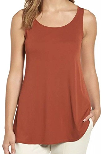 Eileen Fisher Scoop-Neck Small Tunic Silk Top Blouse Orange S