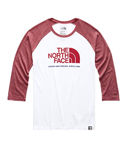 The North Face Women's ¾ Americana Tri-Blend Baseball Tee, TNF White Heather/Cardinal Red Heather, Size - Blend Cardinals Tri