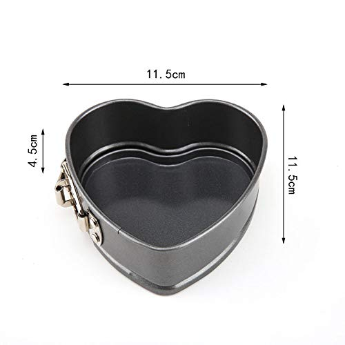 3pcs Set of Square Round Heart-shaped Mini Cake Molds Teflon Non-stick Layer Baking Mould Carbon Steel Baking Pan, Red