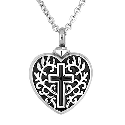 SexyMandala Religious Christian Faith Cross Heart Memorial Urn Necklace for Ashes Cremation Keepsake Pendant Funnel Fill Kit