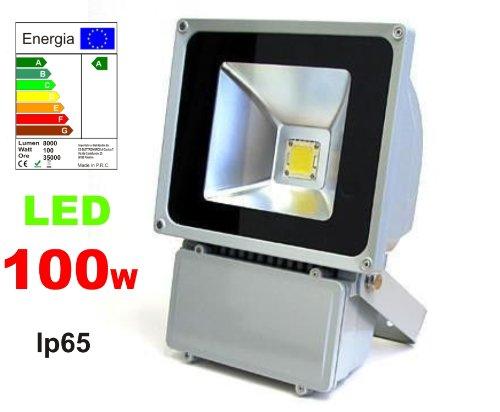 PROYECTOR LED 100 W PARA EXTERIOR IP65 3200 K BLANCO CÁLIDO 8000 ...