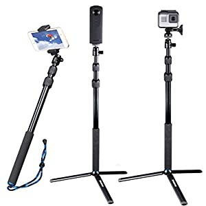 Smatree Telescoping Selfie Stick/Monopod for GoPro Hero Fusion/6/5/4/3+/3/Session Cameras, Ricoh Theta S/V, Samsung Gear 360,4K Action Camera,YI 4K and Cell Phones
