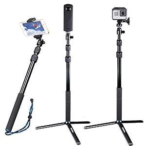 Smatree Telescoping Selfie Stick/Monopod for GoPro Hero Fusion/6/5/4/3+/3/Session/GOPRO HERO (2018)/Cameras, Ricoh Theta S/V, Samsung Gear 360,4K Action Camera,YI 4K and Cellphones