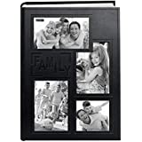 """Pioneer Collage Frame Embossed""""Family"""" Sewn Leatherette Cover 300 Pocket Photo Album, Black"""