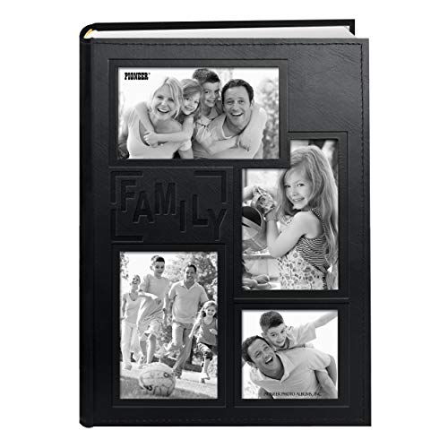 Pioneer Collage Frame Embossed'Family' Sewn Leatherette Cover 300 Pocket Photo Album, Black
