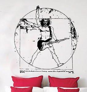 Da Vinci Vitruvian Man Playing Fender Strat Guitar, Sticker, Wall Art, Mural, Giant, Large, Decal, Vinyl, Size: 46.5in 118cm (W) X 49.5in 126cm (H) - Large