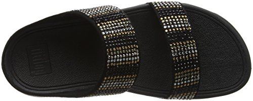 Mujer Slide Negro Strobe Sandals Fitflop Flare Punta con Abierta para 1 Sandalias Black RqgwazO