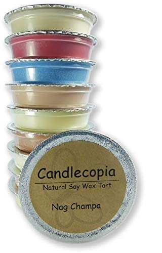 Candlecopia Nag Champa, Egyptian Amber, Dragon's Blood, Sweet Patchouli and More! Strongly Scented Hand Poured Premium Natural Soy Wax Melt Cups, 12.5 Ounces in 10 x 1.25 Ounce Sealed Cups