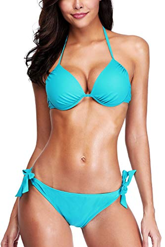 - CharmLeaks Women Halter Bikini Sets Underwired Swimsuit Side Tie Swimwear S