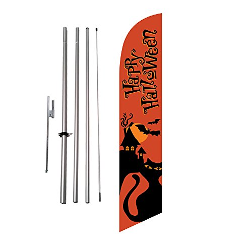 Happy Halloween (orange) Outdoor Advertising Feather Banner Swooper