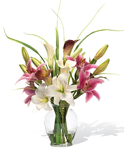 Calla Lily & Rubrum Lily Silk Flower Arrangement
