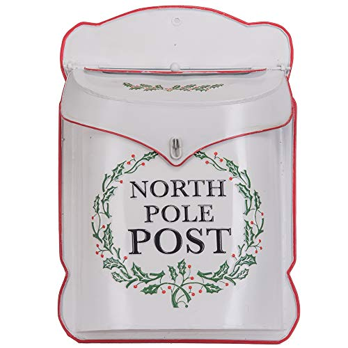 Designs Combined North Pole Post White 10.5 x 15 Inch Metal Decorative Christmas Mailbox ()