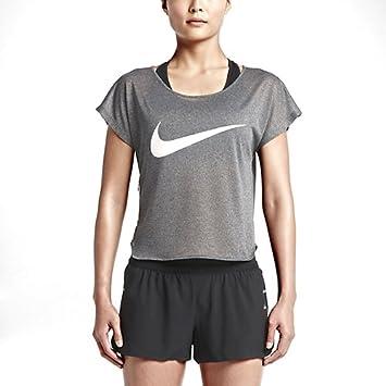 Nike Mujer Ciudad Cool Manga Corta Camiseta de Tirantes, Mujer, Run Free Cool Swoosh, Negro/Blanco: Amazon.es: Deportes y aire libre