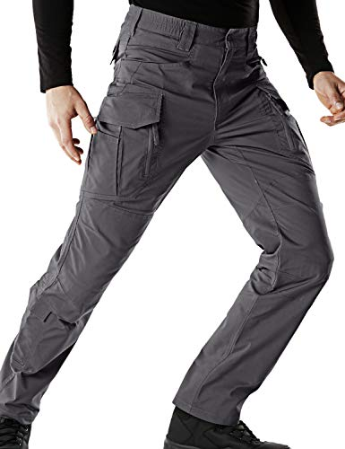 CQR Men's Flex Stretch Tactical Work Outdoor Operator Rip-Stop Trouser Pants EDC, Flex Multipocket(tfp521) - Charcoal, 30W/32L