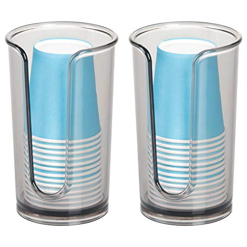 Disposable Countertop - mDesign Modern Plastic Compact Small Disposable Paper Cup Dispenser - Storage Holder for Rinsing Cups on Bathroom Vanity Countertops - Pack of 2, Smoke Gray