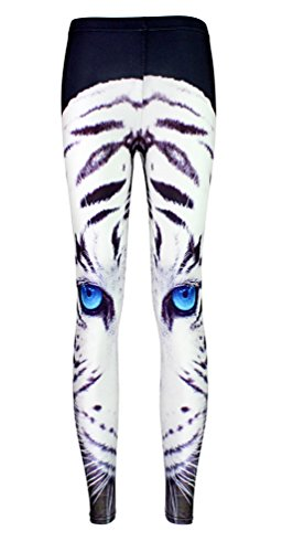 [Girl's Tiger Pattern Eyes Printed Cute White Legging Tight Paty Costume M] (Cute Tiger Costumes Women)
