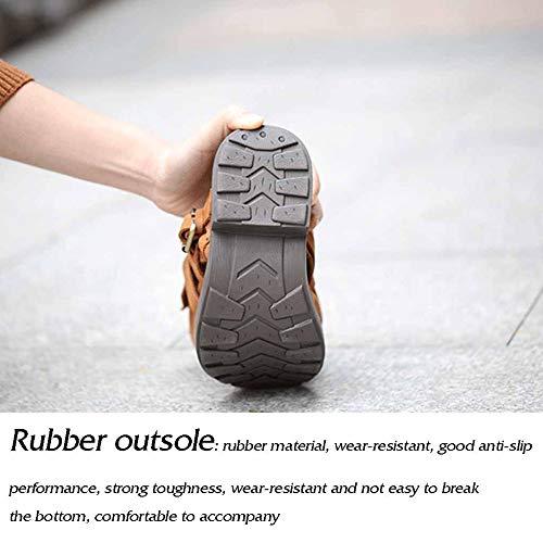 casual Retro mano Boots a scarpe Comfort lavorato Winter piatto Martin saggiamente lavorano donne marroni 8qpwBI