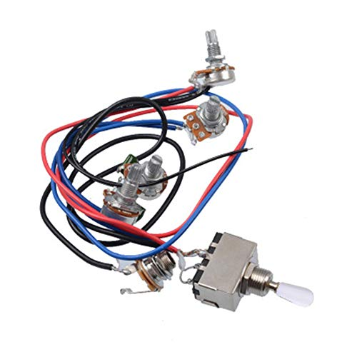 Humbucker Position - Prewired Wiring Harness Kit for LP Electric Guitar, 2T2V 500K Pots 3-position Toggle Switch with Jack for Dual Humbucker Gibson Les Pual Style Guitar Electronics Replacements, White Cap