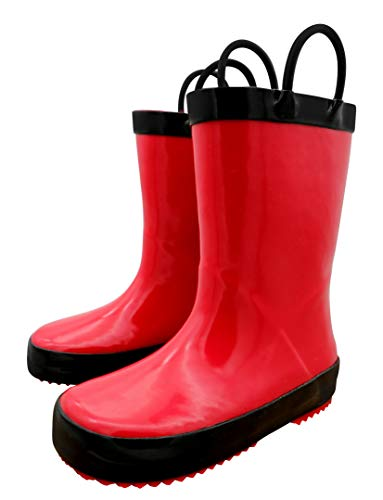 TQ Homebase Rubber Girls and Boys Rain Boots Red with Easy on Handles Little Kids Size 12 M -