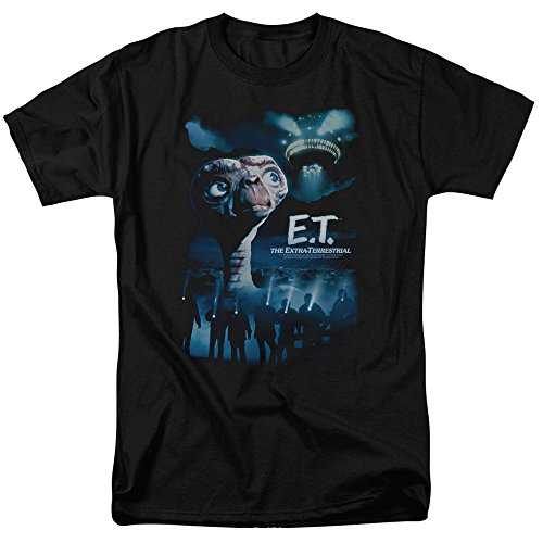Trevco Men's E.T. The Extra-Terrestrial Short Sleeve T-Shirt, Home Black, Small