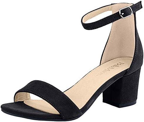 Bella Marie Women's Strappy Open Toe Block Heel Sandal Black 6