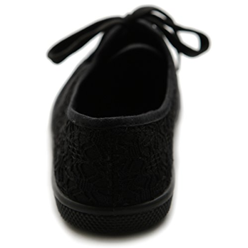 Ollio Damen Ballettschuh Schnürschuh Sneaker Canvas Flat Schwarz