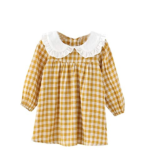 Vska Baby Girl Plaid Organic Cotton Doll Collar Long Sleeve Dress Yellow 120 -
