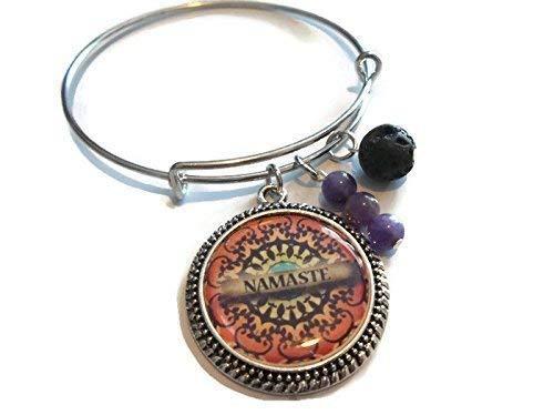 Namaste Mandala Charm Bracelet Amethyst Gemstone Lava Rock Diffuser Mantra Jewelry Expandable