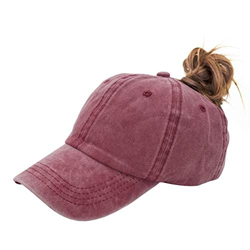 Ponytail Baseball Hat Distressed Retro Washed Cotton Twill (Red (Fashion Baseball)