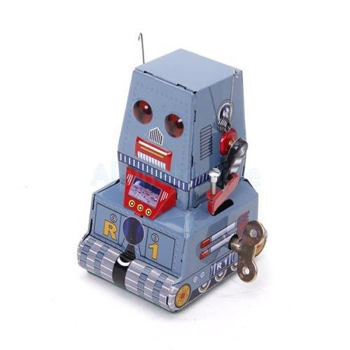 Shalleen Vintage Retro Style Wind Up Tank Robot Tin Toy Collectible Gift w/ Key New