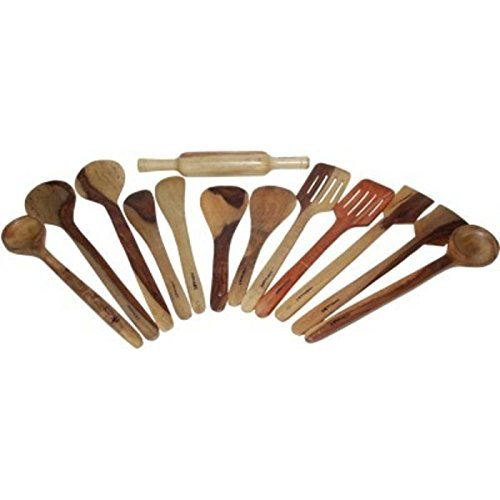 Craftatoz Natural Serving and Cooking Spoon Set 13 for for Cooking Non Stick   Ladles Mixing and turning With Rolling Pin 2 Bouillon, 2 Strainer,Slotted,2 Butter,2 Rice,2 Scrapper (Spoons) , 1 Chapatti Roller   Sheesham Wood   Size Large Price & Reviews