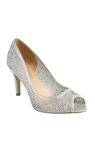 Davids Bridal Crystal-Embellished Mesh Peep Toe Pumps Style Jolie-1 Silver WNej6ll
