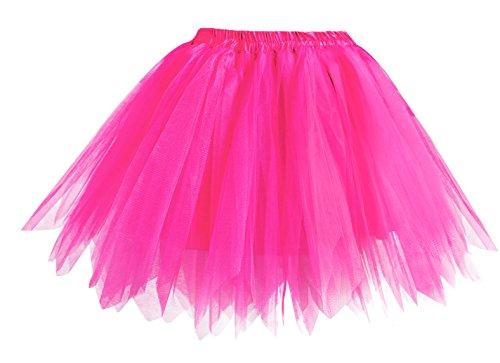 Hot Pink Tutu (V28 Women's Teen's 1950s Vintage Tutu Tulle Petticoat Ballet Bubble Skirt (Regular Size (US: 0-12), Hot Pink))