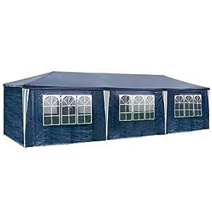 TecTake TecTake Carpa pabellón tienda de 3x9m 9x3m para eventos y fiestas 27 metros cuadrados jardin azul