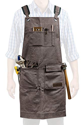 Luxury Waxed Canvas Shop Apron | Heavy Duty Work Apron for Men & Women with Pocket & Cross-Back Straps | Adjustable Tool Apron Up To XXL | Long, Thick, Water Resistant Workshop Apron in Gift Box by GIDABRAND (Image #8)