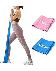 iMoebel Theraband gymnastikband träningsband – 2 styrkor 8–10 kg/12–15 kg premium extra lång 1,5/1,8 meter träningsband motståndskraftiga för yoga, pilates, crossfit, rehabilitering