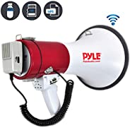 Pyle Megaphone Speaker PA Bullhorn with Built-in Siren - 50 Watts Adjustable Volume Control and 1200 Yard Range - Ideal for