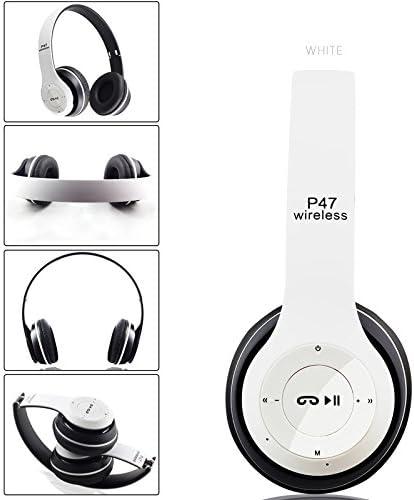 Auriculares inalámbricos, Bluetooth, P47 over Ear auriculares plegable con micrófono estéreo Auriculares 3,5 mm de audio Apoyo TF de radio FM para PC TV Smart Phones y Tablets etc.: Amazon.es: Electrónica