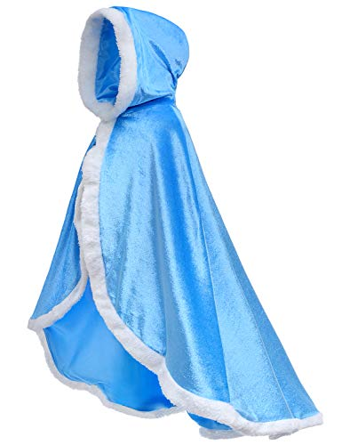 (Fur Snow Queen Elsa Cinderella Cape Cloaks for Girls Dress Up Blue 8-10)