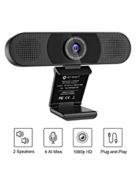 3 in 1  cam - eMeet C980 Pro HD  cam, 2 Speakers and 4 Built-in Omnidirectional Microphones arrays, HD 1080P  cam for Video Conferencing, Streaming, Noise Reduction, Plug & Play, w  cam Cover
