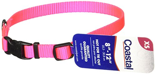 Coastal Pet Products DCP6301NPK 3/8-Inch Nylon Adjustable Dog Collar, X-Small, Neon Pink