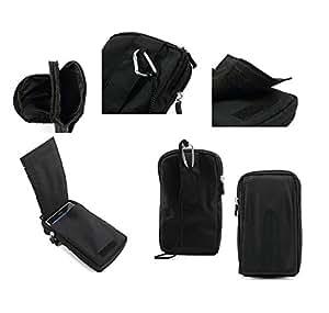 DFV mobile® - Multi-functional Vertical Stripes Pouch Bag Case Zipper Closing Carabiner for => Lenovo Note 8 A936 Golden Warrior > BLACK XXL (19 X 10.5 cm)