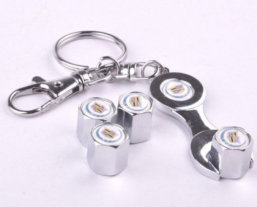 D&R® Wrench Keychain Chrome Tire Valve Stem Caps For Cadillac