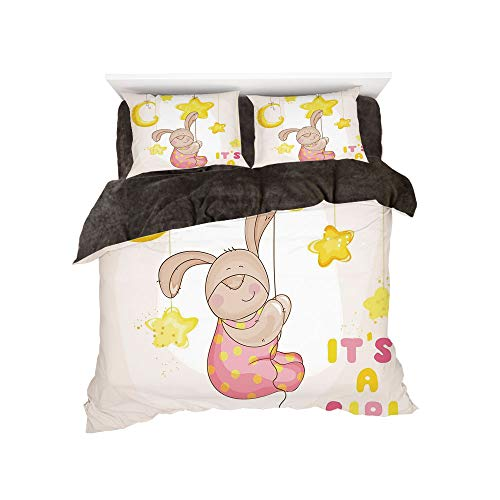 Flannel 4 Pieces on The Bed Duvet Cover Set 3D Printed for Bed Width 4ft Pattern by,Kids,Cartoon Like Cute Baby Bunny Hanging Stars and Moon Polka Dots Cheerful Art,Yellow Tan Light Pink