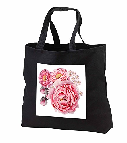 Price comparison product image Anne Marie Baugh - Watercolor - Pretty Watercolor Pink Peony Flower Bouquet - Tote Bags - Black Tote Bag 14w x 14h x 3d (tb_252918_1)