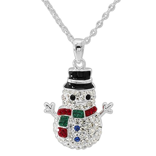 CRYSTALOGY Women's Jewelry Silver Plated Brass Crystal Snowman Fashion Pendant Necklace, 18