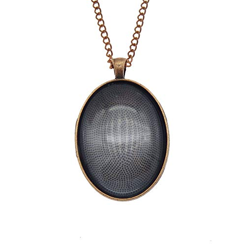 Julie Wang 10 Sets Oval Bezel Pendant Kit with Glass Cabochon and Chain for Making Jewelry Antiqued Copper 40x30mm (Ovale Gläser)