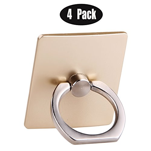 ([4 Pack] Phone Ring Stand Holder CaseHQ 360 Degree Rotation Reusable Ring Holder Finger Grip [Washable] [Removable] Universal Kickstand for iPhone X 6 6s 7 7 Plus 8 Galaxy S9 S9 Plus S8 S7 (Gold))